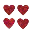 Set doodle red hearts vector image