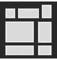 Blank Postage Stamps Set on Dark Background vector image