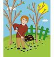 Woman with a rake cleans a garden vector image