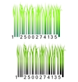 Bar code with fresh green grass vector image vector image