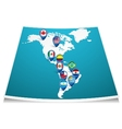 American map with flag pin vector image vector image