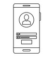 smartphone device with contact isolated icon vector image