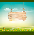 summer nature background with green landscape and vector image