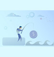 business man fishing money coin strategy success vector image