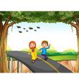 Muslim couple crossing a bridge vector image vector image