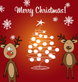 Card reindeer Rudolph and Christmas tree vector image