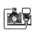 hand drawing camera photographic with flash vector image
