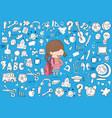 schoolgirl pupils back to school background vector image