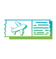 silhouette airplane ticket document to vacation vector image