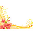 autumn background with gladiolus flower falling vector image