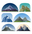 cartoon mountain side landscapes outdoor vector image