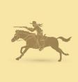 cowboy riding horseaiming rifle vector image