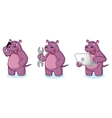 Purple Hippo Mascot with laptop vector image