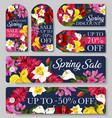 sale tag and label of spring season discount offer vector image