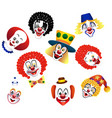 set of clowns isolated for decoration vector image
