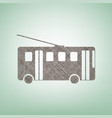 trolleybus sign  brown flax icon on green vector image