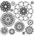 Flower Ornament Black and White6 vector image