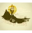 Cactus saguaro grunge background card vector image