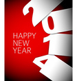 Red and white Happy New Year 2014 card vector image