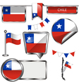 Glossy icons with Chilean flag vector image vector image