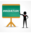 Man points to innovation word on green board vector image