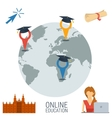 Online education concept with four icons vector image