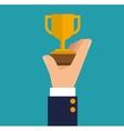 hand holding trophy winner business vector image