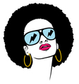 Afro with glasses thunder Vector Image