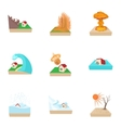 Natural catastrophe icons set cartoon style vector image
