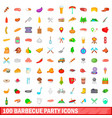 100 barbecue party icons set cartoon style vector image