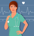 Young female nurse or doctor in scrubs vector image