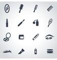 black cosmetics icon set vector image