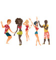 cartoon people dancing at beach party set vector image