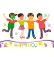 dirty kids in different colors vector image