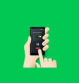 hand holding smartphone with conceptual safe vector image