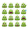 little cute funny green alien set vector image