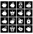 Piggy bank set white icons on black squares vector image