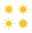 Sun icons set Collection light yellow signs vector image