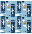 Seamless pattern with passenger airplanes 06 vector