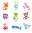 set of cute colorful soft plush animal toys vector image