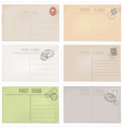 Six old post envelopes on a white background vector image