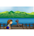 A boy and a sea lion vector image