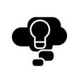 cloud idea lamp icon black vector image
