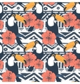 Seamless Tribal Pattern with toucans vector image