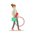 Fitness Club Trainer Walking To Work With Hula vector image