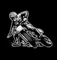 hand draw of man riding a flat track motorcycle vector image