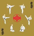 The six men are engaged in karate vector image