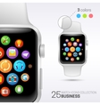 Smart watch with white wristband vector image vector image
