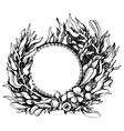 Wreath of fantasy leaves vector image