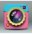App design pink and blue photo camera icon vector image